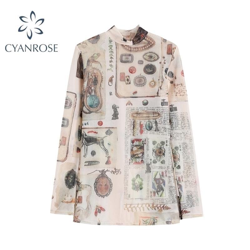 Vintage Stampa T Shirt Donne Biancheria intima Abbigliamento Autunno Inverno Casual Casual Neck Manica Lunga Slim Slim Stretchy TEE TOP 210515