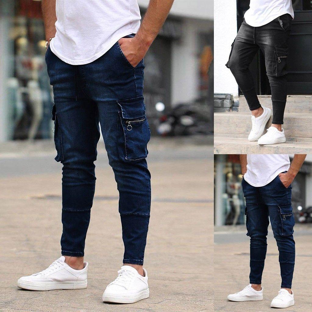 Jeans da uomo Jeans da uomo Solido Denim Denim Pantaloni Distressed Jeans Pantaloni lunghi Streetwear Hip Hop Ropa de Hombre 2021