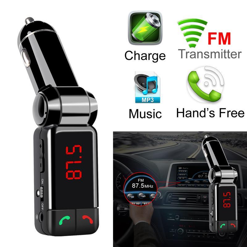 Bluetooth USB Car Caricabatterie FM Trasmettitore A Mani Free MP3 Audio Player Modulatore wireless BC06 per cellulare