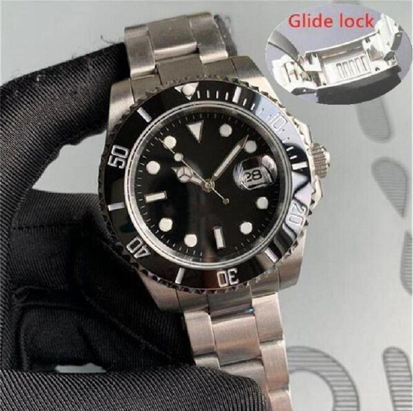Glide Lock Luxe Mode Montre Céramique Black Bezel Nouvelle Mécanique Mécanique 2813 Mouvement automatique Sports Hommes Designer Montres Montres Montres