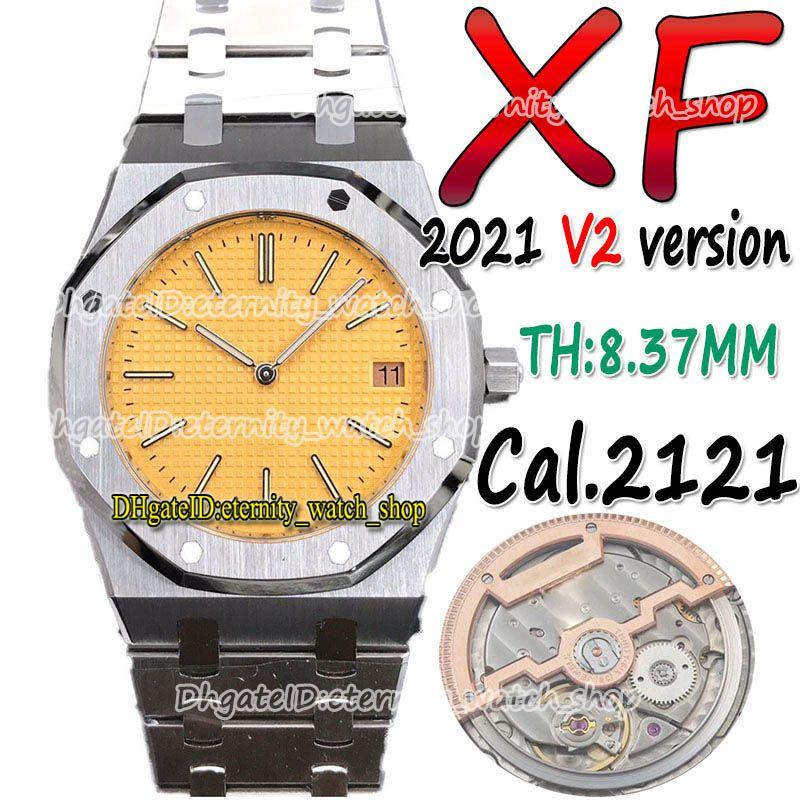 Eternity Sport Watches XF Última versão de atualização V2 15202 39mm ultra-fino THK-8.37mm Dial Amarelo Cal.2121 xf2121 automático 15400 mens relógio 904L Caso de aço pulseira