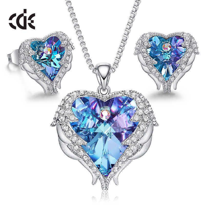 CDE المرأة قلادة أقراط مجوهرات مجموعة مجوهرات مع كريستال القلب قلادة studfashion مجوهرات هدية 210619