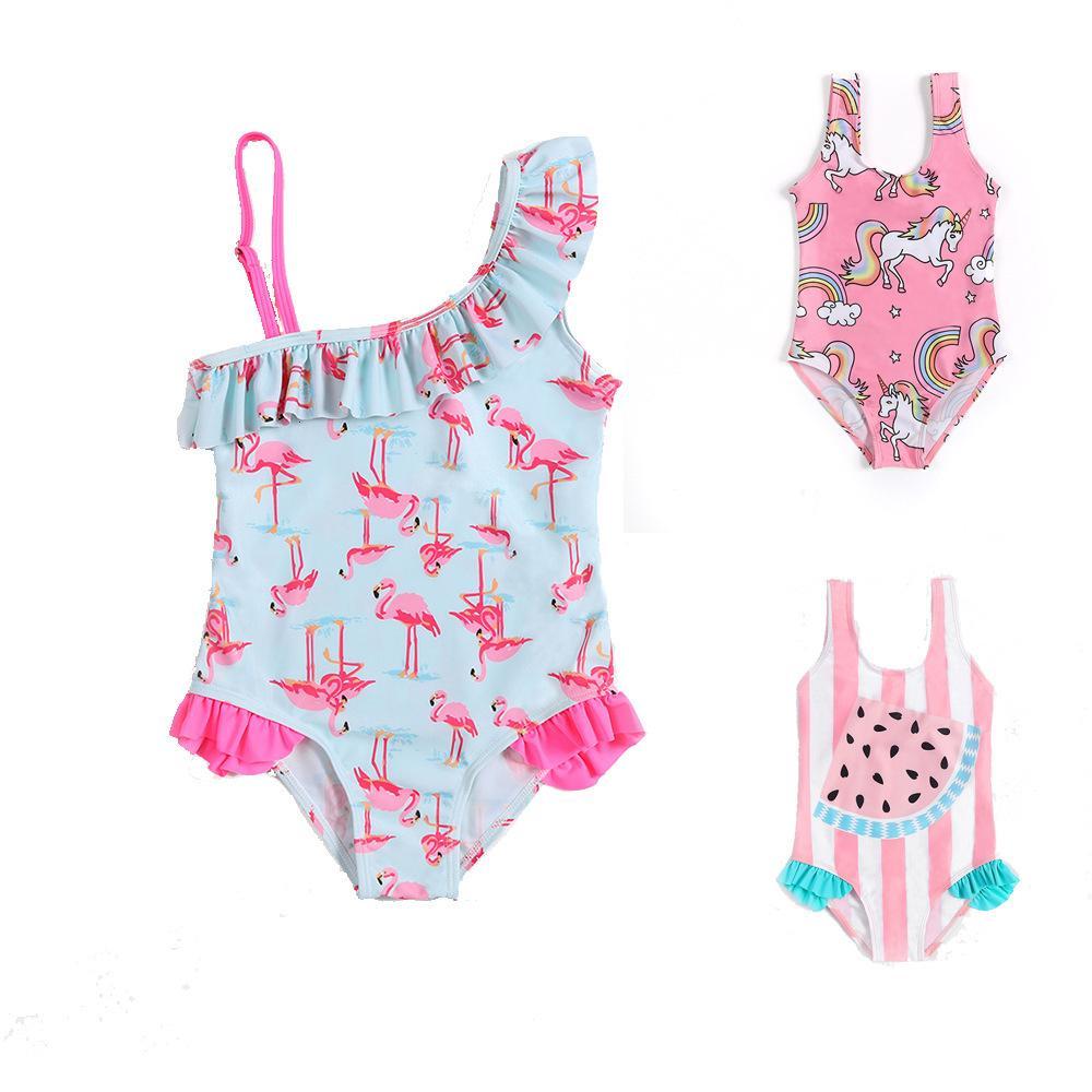 Kids One-piece Cartoon Swimsuits Flamingo Watermelon Pineapple Print Cute Lovely Baby Skew Collar Swimwear Girl Bathing Suit TTA764 perfect
