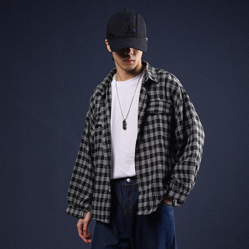 extfination 남성용 격자 무늬 고전적인 셔츠 일본식 남자 캐주얼 특대 셔츠 패션 봄 남성 하라주쿠 블라우스