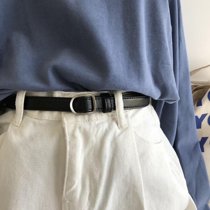 Belts Fashion Women No-hole Buckle Belt Luxury Designer Jeans Decorative Female Dress Thin PU Leather Waist Strap