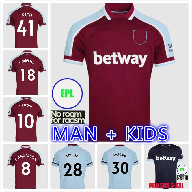 Erkekler Çocuklar Kiti 21 22 Lingard Futbol Formaları Demir Kızlık Özel 2021 2022 Pirinç Soşak Noble Jambon Bowen United Lanzini Futbol Gömlek Batı