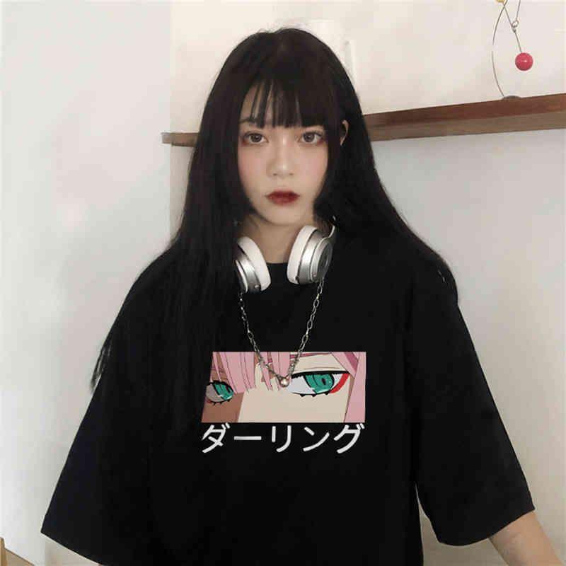 Liebling in der Franxx Anime Harajuku Zero Zwei schöne Mädchen drucken Frauen Tops Lose Neue Sommer Kurzhülse Chic-weibliches T-Shirt 210420