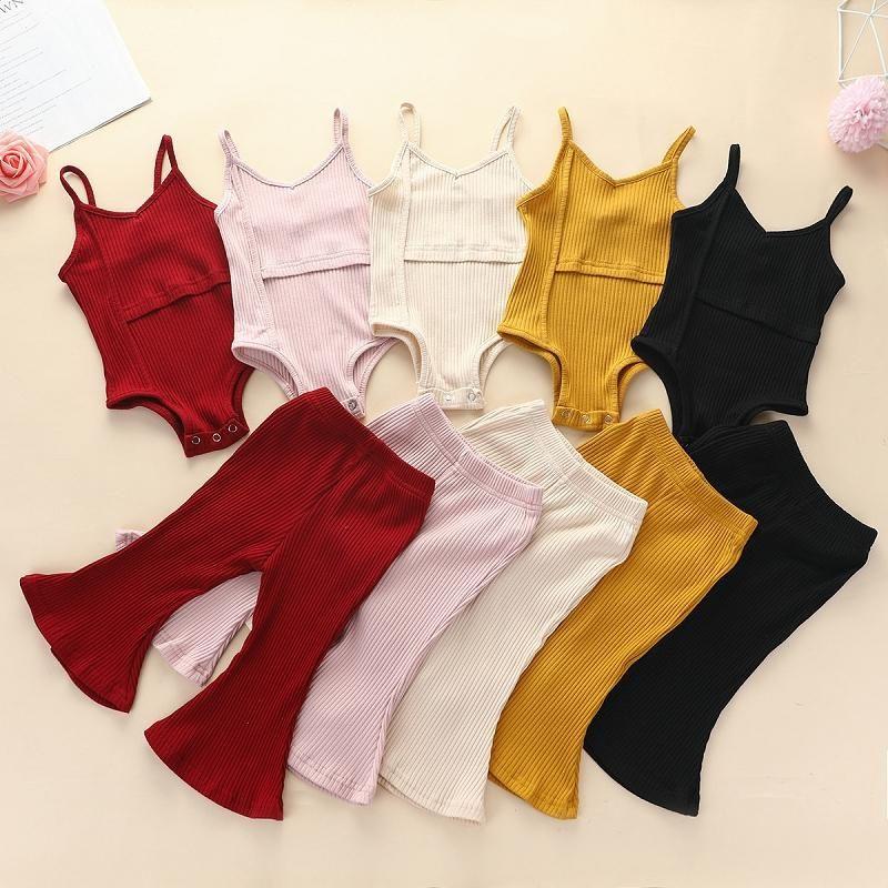 Bebek Giysileri Çocuk Giyim Setleri Kızlar Yaz Katı Renk Makale Çukur Tulum Flare Pantolon Suits Çocuk Kolsuz Sling Tulum Takım Elbise