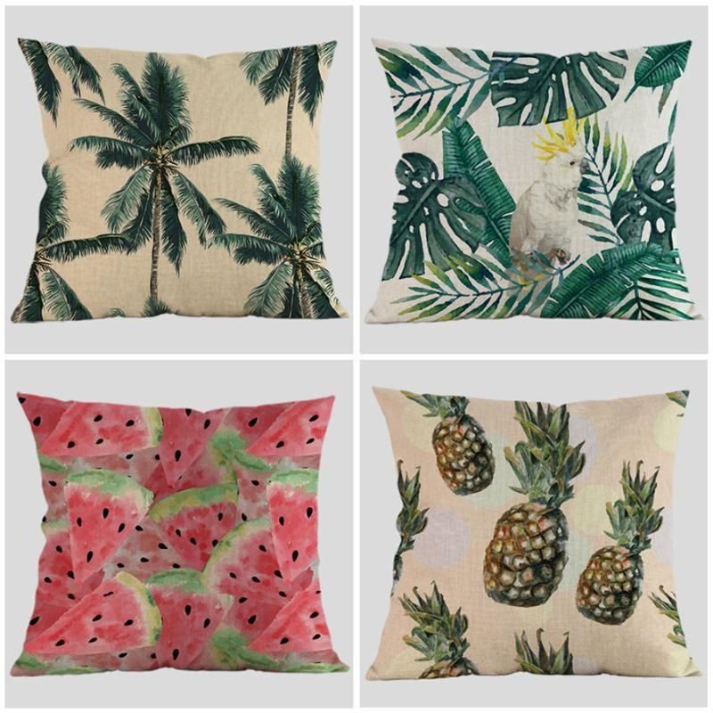 Tropische Pflanzen verlässt Papagei Ananaskissen Abdeckungen Vögel Palme Kissenbezug Dekorative Leinen Baumwollkissenbezug COJIN-Kissen / Deco