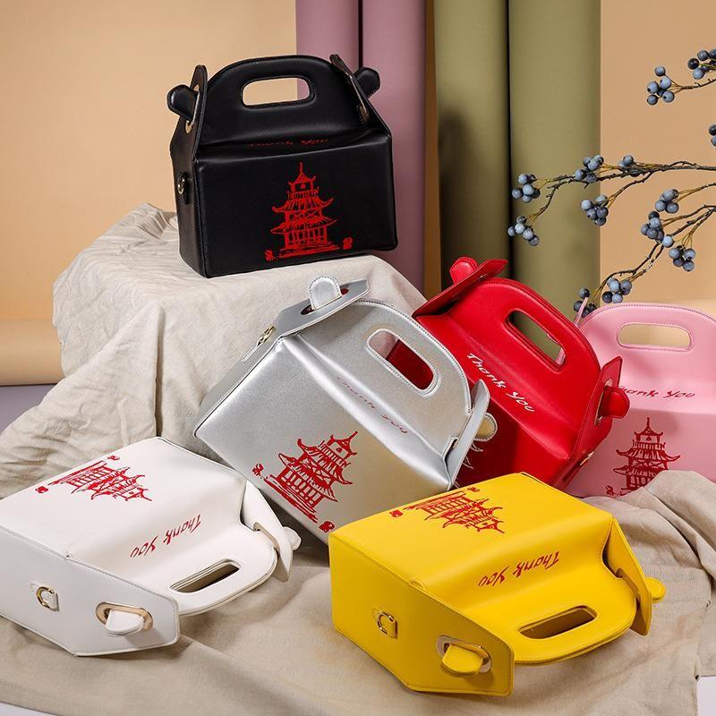 Chinesische Takeout Box Tower Print Handtasche für Frauen Neuheit Nette Mädchen Schulter Messenger Bag Weibliche Totes Geldbörse Kreuzkörper