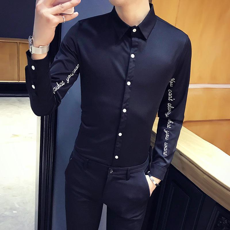 Marke Männer Hemden Langarm Casual Slim Fit Hemd Brief Stickerei Streetwear Social Top Camisa Kleidung Chemise Homme Herren