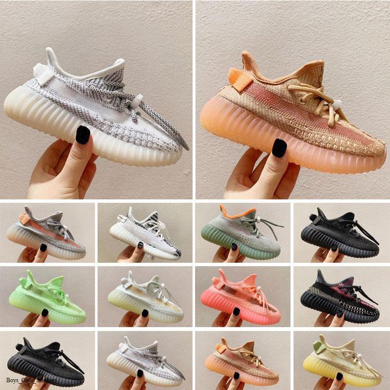 Adidas Kanye West yeezy 350 V2 kid shoes Toddlers Eğitmenler V2 Kil Siyah Üç Kişilik Beyaz Antlı Çocuk Sneakers Erkek Kız Koşu 26-35