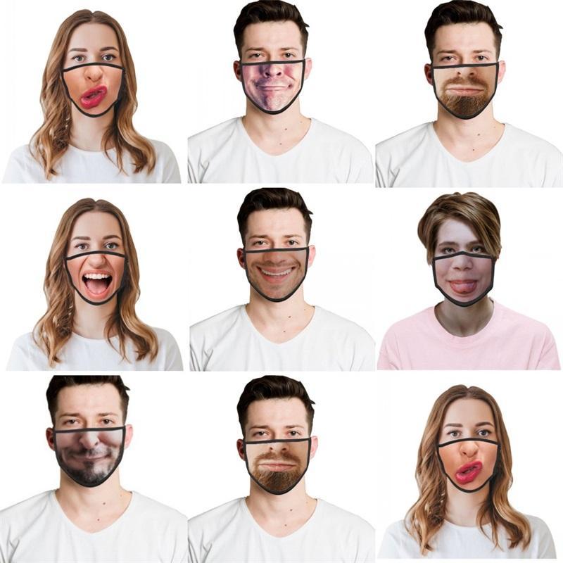 2021 REUSEBLE REUSELABLE FORMA ENGRAÇADA MASCULA DE FACE 3D Emoções de Emoções Personalidade Máscaras De Popota Dobrável à prova de festa respirável Masks 762 R2