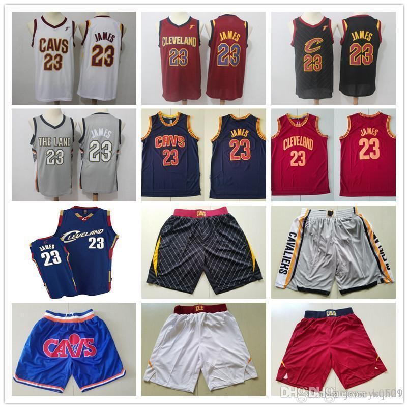 Mens ClevelandCavaliersThrowback jerseys LeBron 23 James Basketball Shorts Basketball Jerseys yellow red white blue grey