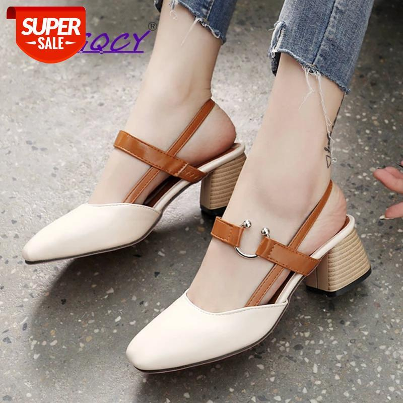 Square heel Toe High-heeled sandals women 2019 summer shoes woman Students Fashion Riband Metal Decoration female #kf8o