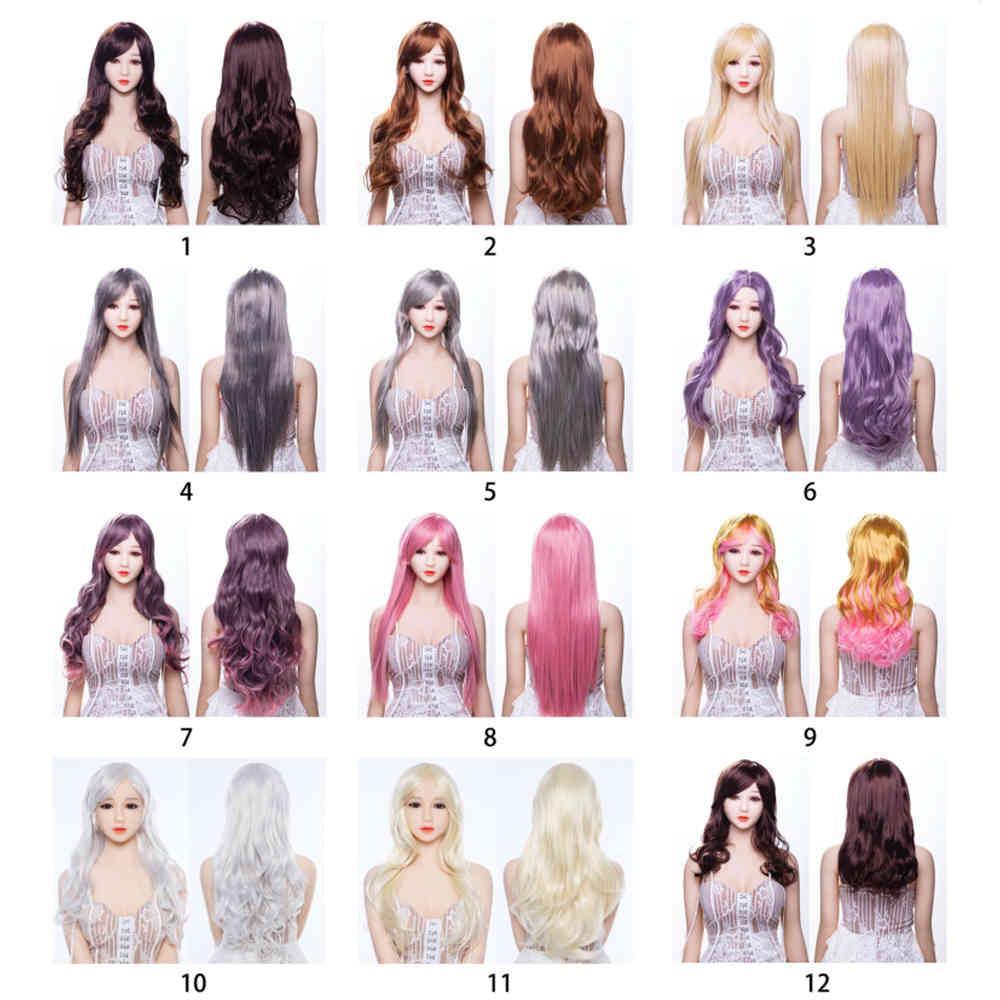 Neue Ankunft schöne Perücke mit Differenzgrößen und farbigem Haar für echte Silikon-Sex-Puppen in voller Größe Perücken