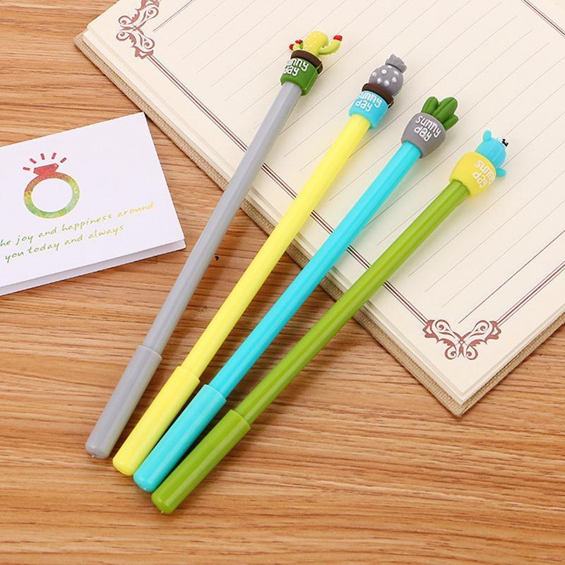 Cartoon cactus gel pen 0.5mm black Ink Office School signature exam Writing Supplies Stationery 0306