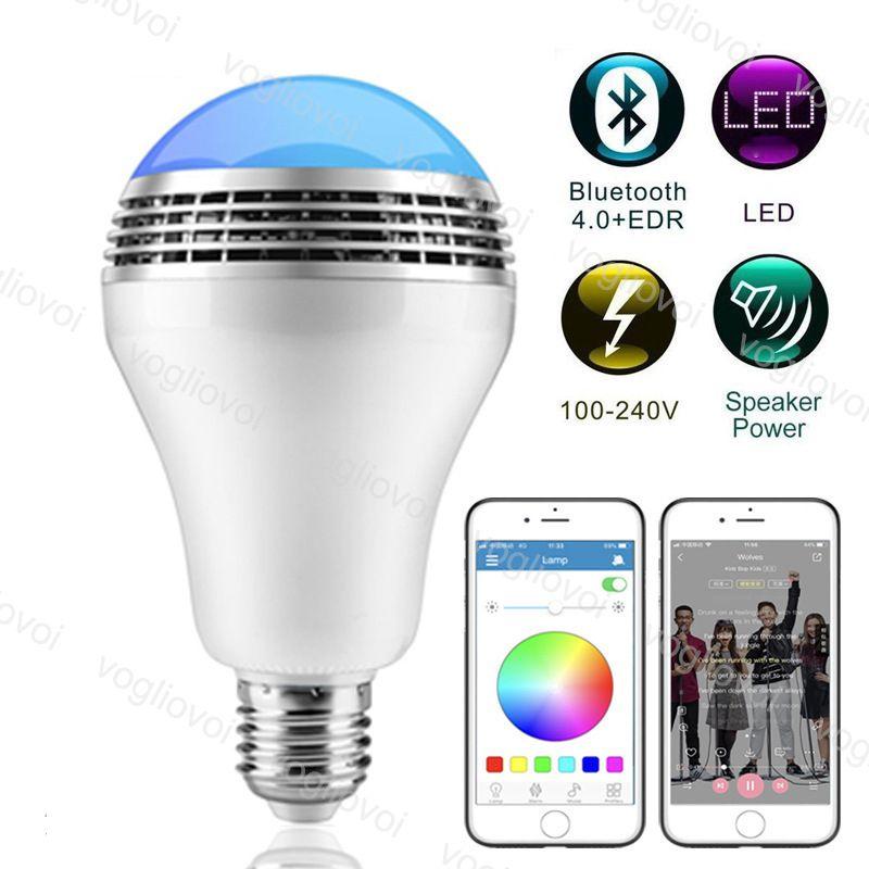 Bombillas LED RGB Wireless 4.0 Bluetooth Audio Speaker Reproductor de música Dimensión de la luz de la fiesta con el control remoto de la aplicación DHL