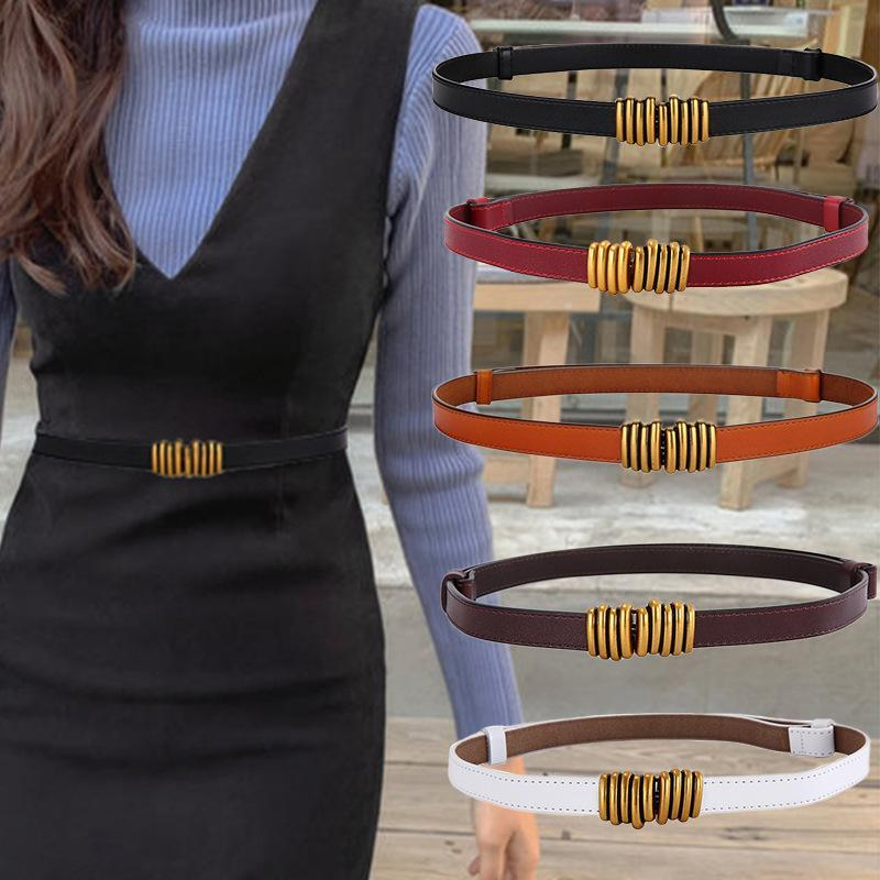Belts Women's Retro Leather Waist Seal Thin Pair Buckle Coat Belt Without Punching Female Students Trim Fine Skirt Designer
