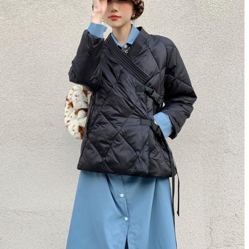Japan Stil Steppkugeljacke Frauen Parkas Winter Mode Wrap Schwarz Designer Bubble Mantel Oberbekleidung Kleidung S087 Damen unten