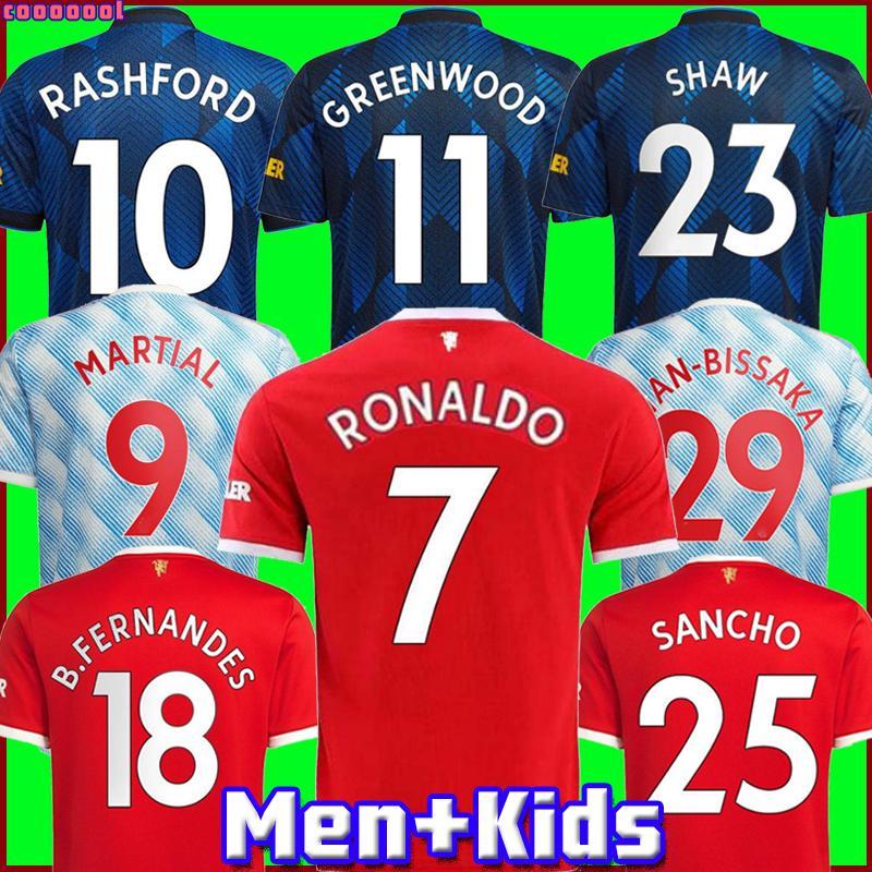 RONALDO Camisas de futebol Manchester 2021 2022 UNITED MAN SANCHO SHAW UTD VAN DE BEEK VARANE B. FERNANDES RASHFORD GREENWOOD POGBA camisa de futebol 21 22 homem + crianças kit