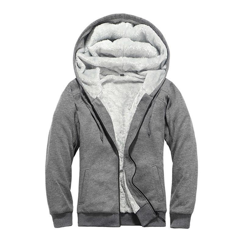 Sweats à capuche Homme Sweatshirts Hiver Casual Hommes Outwear Brise-vent épais Doublure en laine Homme Homme à capuche Sweatwear Sweat-shirt Male UE Siz