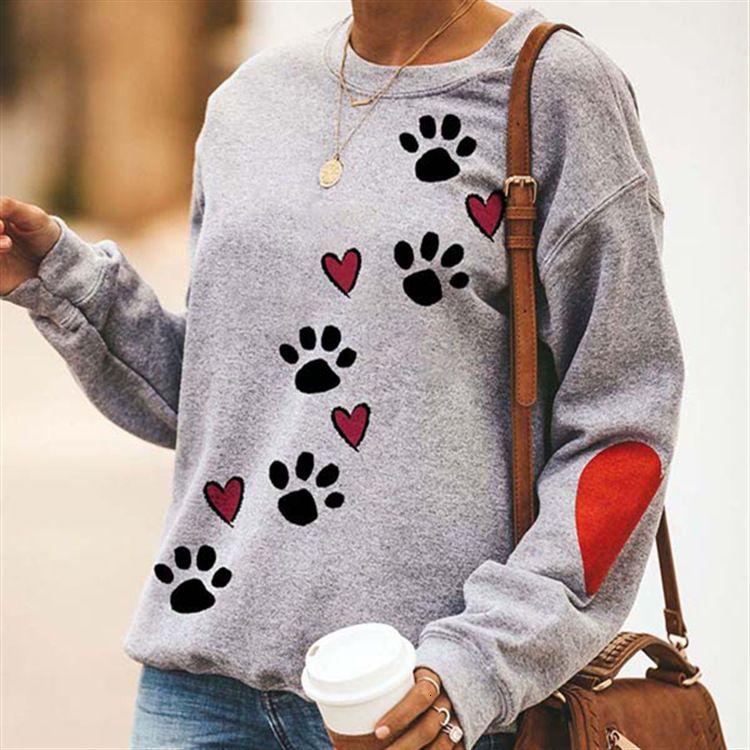 Herbst und Winter Rundhals Hundeklaue gedruckt Pullover Hülse Liebe Muster Pullover Langarm Top