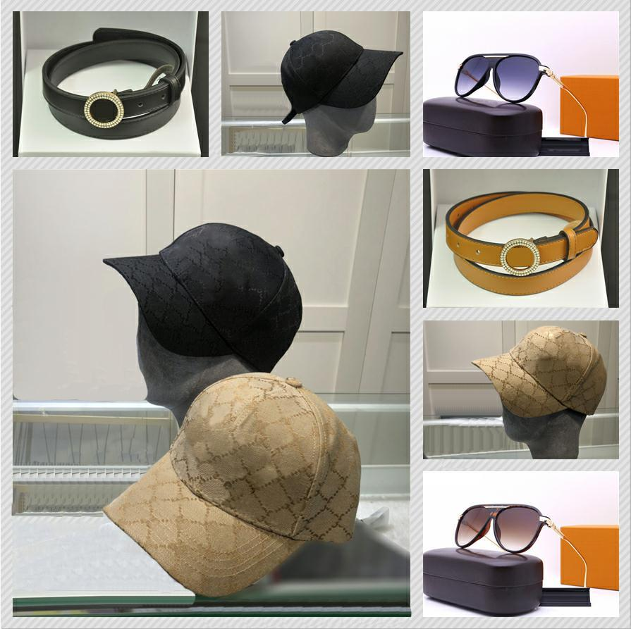 LUXUROS 2021 Diseñadores de moda Casilla de béisbol y cinturón para hombres Gafas para mujer Verano Viaje al aire libre Sombrero de sol Gafas de sol de alta calidad con 2 colores bueno agradable