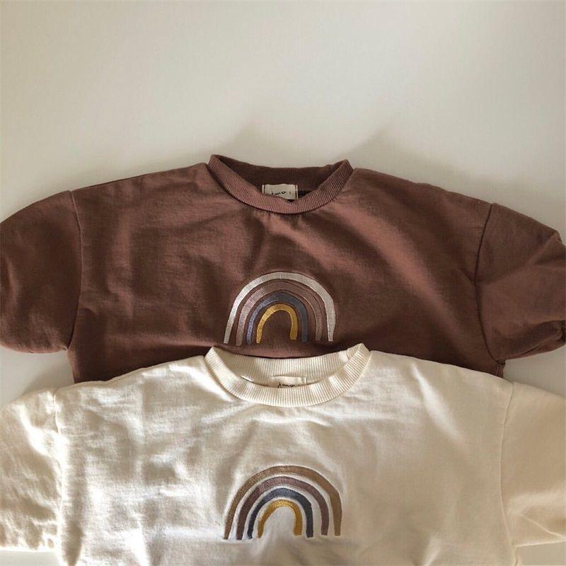 가을 유아 아기 소녀 소년 무지개 자수 스웨터 탑스 키즈 긴 소매 티셔츠 스웨터 아기 옷 복장 952 Y2