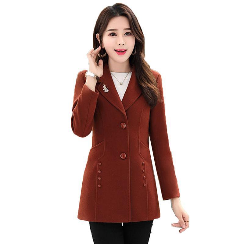Autumn Winter Wool Jacket Womens Clothing Mid-length Blends Woolen Coats Chic Slim Wild Elegant Female Plus Size Outerwear Women's &