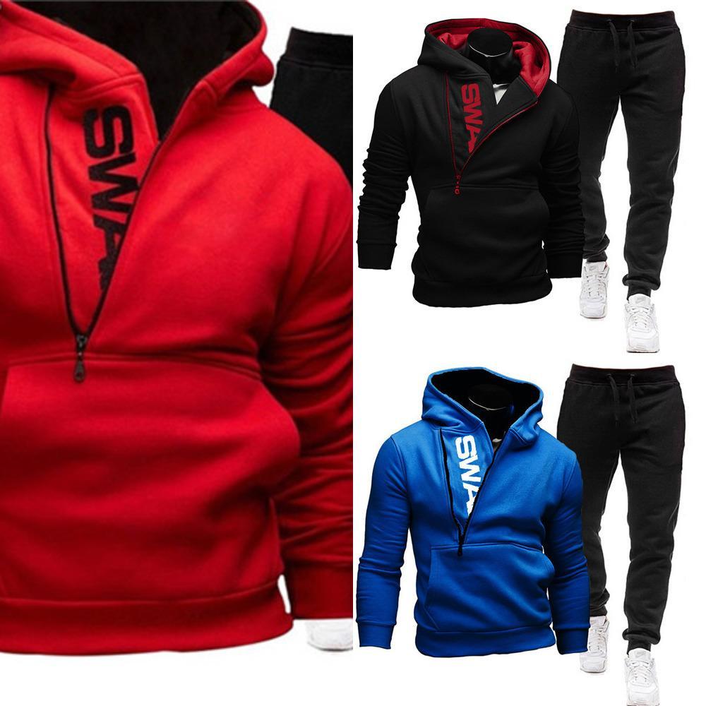 Trainingsanzuggend Nerstck Set Sweatshirt Jogginghose Sportswear Reißverschluss Hoodies Casual Herren Kleidung ROPA Hombre Gre SXL x0601