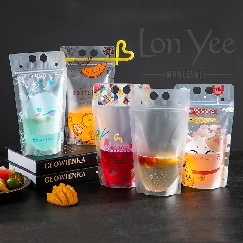 Transparente Self-Siegel-Getränke-Tasche mit strohmattes Kunststoff-Getränk-DIY-Trinkbehälter-Getränke-Taschen-Party Fruchtsaft-Getränke-Tasche VT0437