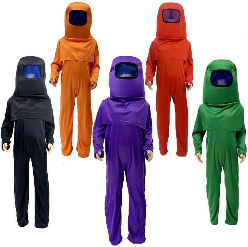 Anime Game Among Us Cosplay Costume Jumpsuit Carnival for Kids Halloween Costumes Role Play Dress Up Mask Bodysuit Set knapsack