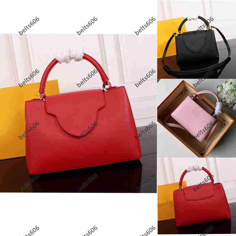 Womens 새로운 어깨 메신저 가방 여성 핸드백 2021 패션 전골 전남 붉은 신부 가방 결혼식 대용량 클래식 가죽 핸드백 솔리드 컬러