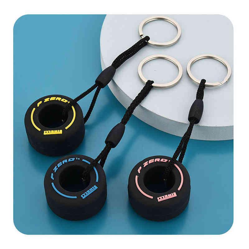 ПВХ мягкий резиновый шин брелок силикон F1 Мини милая шина автомобиль ключ кольца сумка на молнии украшения подвески лучшие подарки для унисекс Y0414