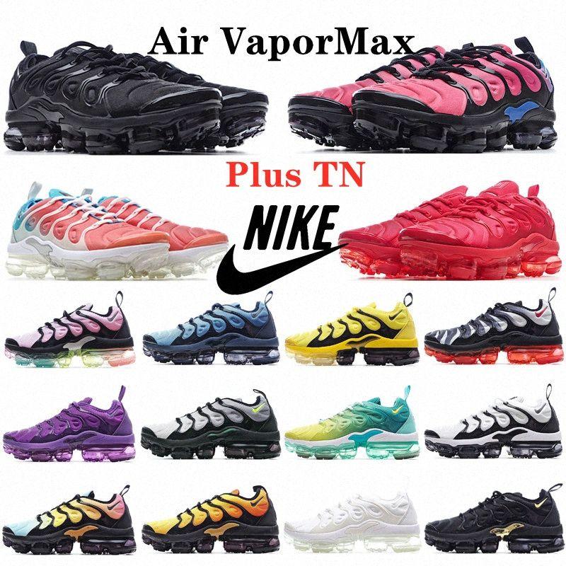 TN Plus Mens Running Shoes Sea Triple Blanco fly knit air cushion 2018 2019 vapormax Mujeres Voltaje Púrpura Limón Lime Bumblebee Be True Trainers Deportes Zapatillas deportivas