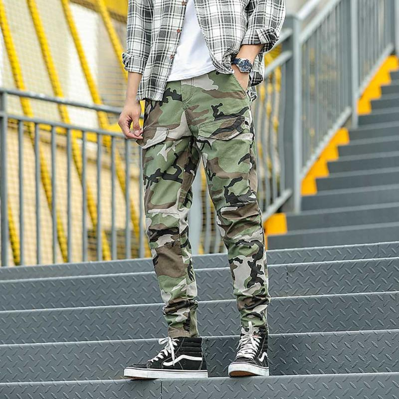 군사화물 바지 남성 캐주얼 전술 정규 맞는 위장 육군 스타일 바지 Streetwear 하렘 의류 남성