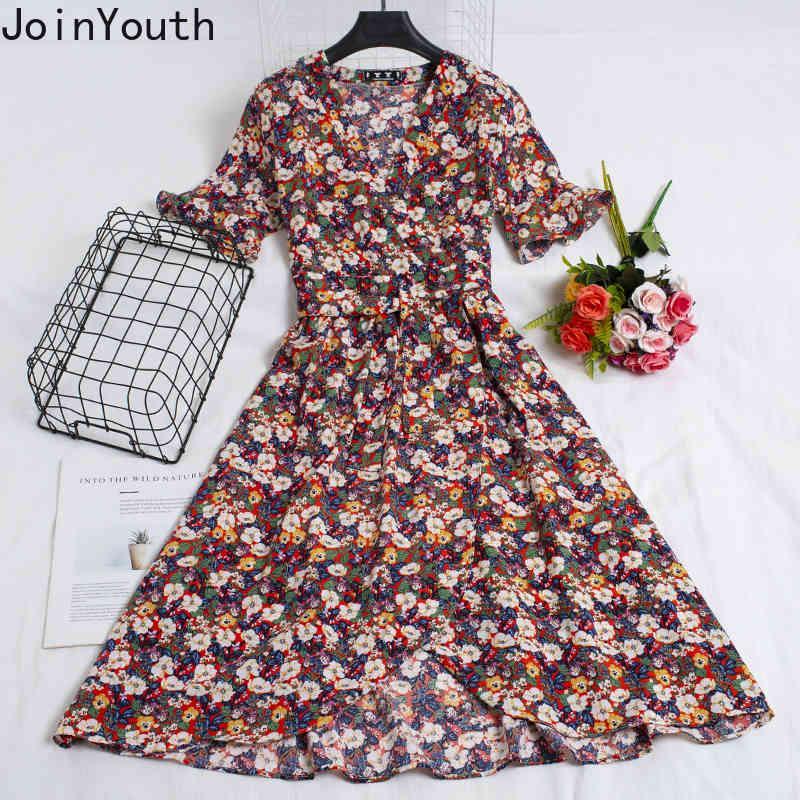 Joinyouth Donne Delle Donne Vestito con scollo a V a farfalla a manicotto a manicotto di fasciatura Vestidos Floral Irregular Robe Slim Fit Chiffon Abiti Coreani Abiti 210423