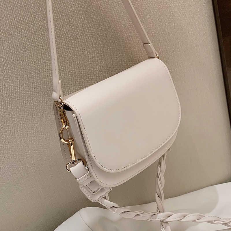Solid color Small Saddle bag 2021 New High-quality Leather Women's Designer Handbag Weave Shoulder strap Shoulder Messenger Bag Y0728