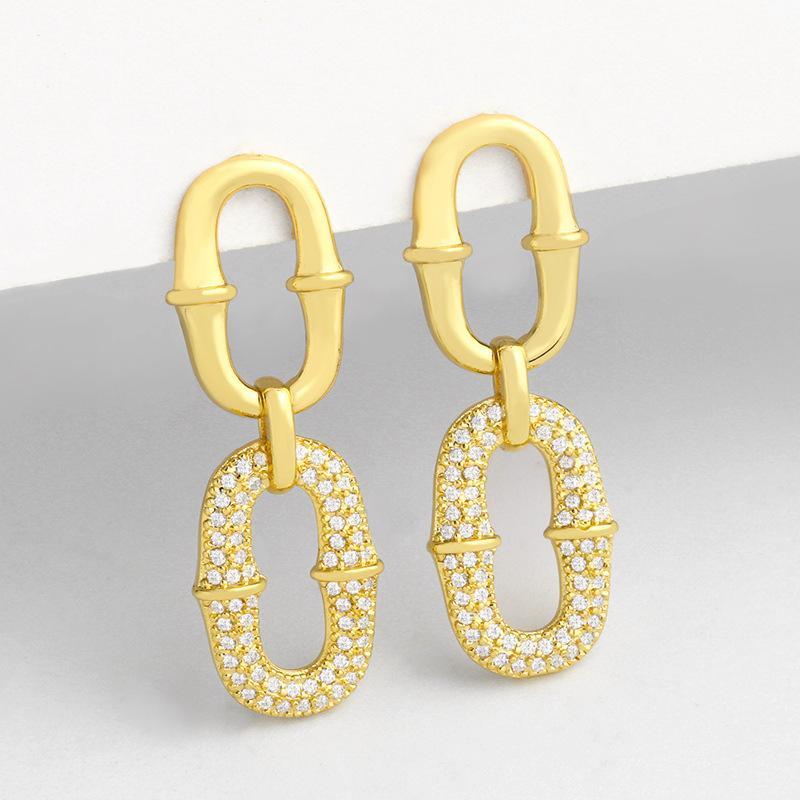 디자이너 개성 과장 마이크로 상감 지르콘 기하학적 귀걸이 구리 도금 정품 금 보석 ERU41