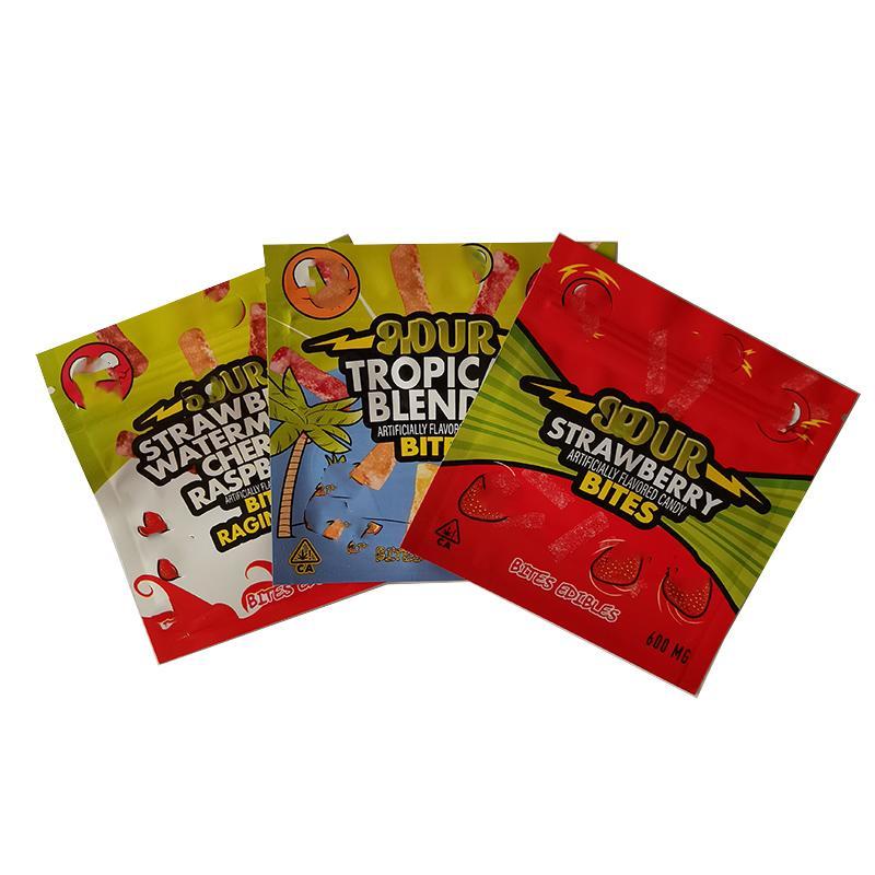 Borsa per imballaggio EDIBLE Vuoto Tre disegni 600mg Aid Gummi Candy Bites Blocco cerniera a cerniera placcata in alluminio Blocco a cerniera richiudibile Mylar Bags