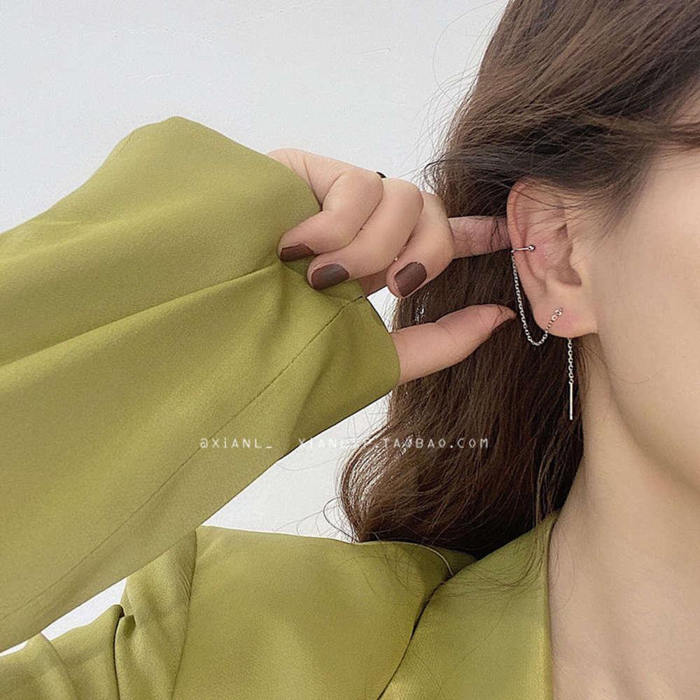 Htbeat long TASSEL EAR line hook ear bone clip integrated Tremella ring femininity Earrings New Fashion in 2020