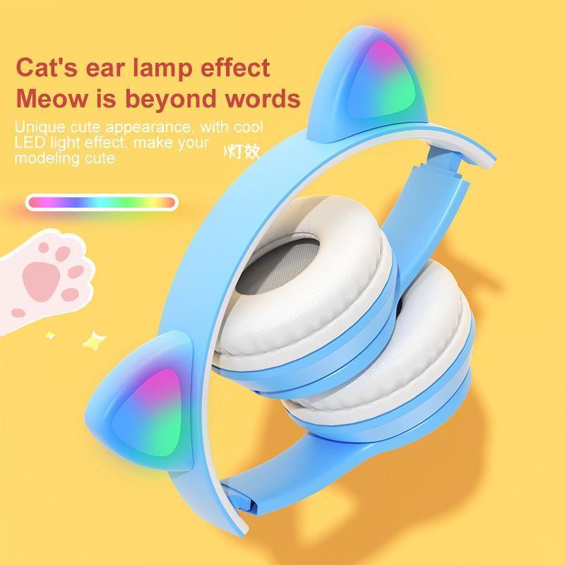 MP4 jogadores sem fio gato bonito orelha fone de ouvido bluetooth fone de ouvido fone de ouvido fones de ouvido estéreo Microfone dobrável para menina / mulheres