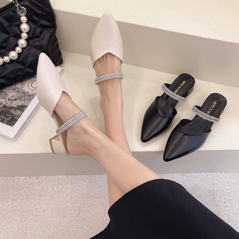 Hausschuhe Leder High Heels Pumps Frauen Schuhe Sommer Mode Spitz Square Ferse Sandalen Slip-on Casual PS3V
