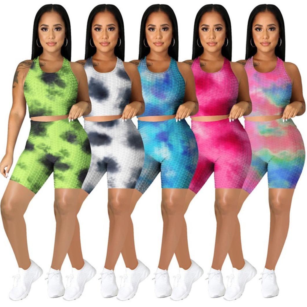 Женские летние наряды йоги плюс размер 2 шт. Набор 2xl Tail-окрашенные туристы + шорты повседневные трексуиты мода спортивная одежда бега