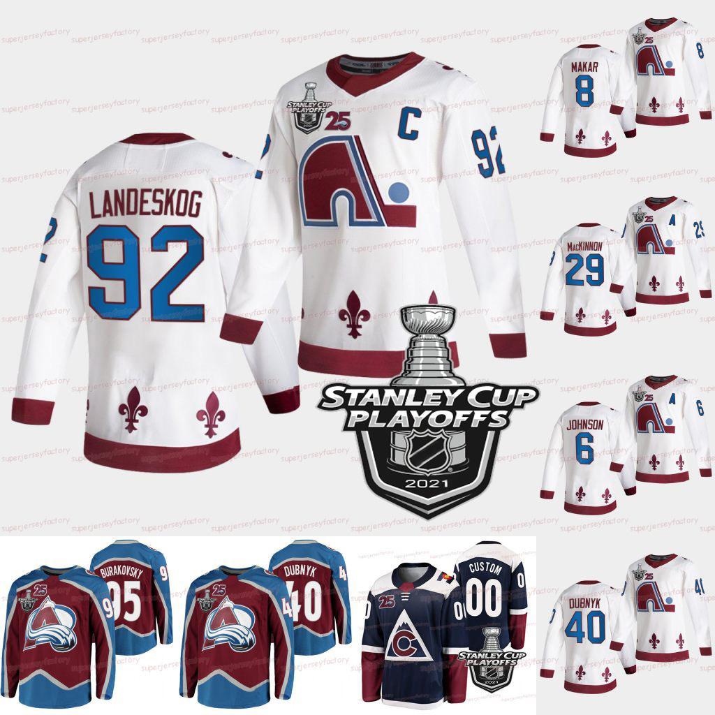 Nathan Mackinnon Colorado Avalanche 2021 Stanley Cup Playoffs 25th Gabriel Landeskog Andre Burakovsky Cale Makar Arik Johnson Samuel Girard Matt Calvert Jersey