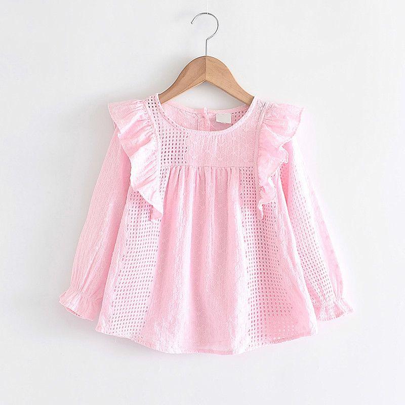 Melario Baby Girls Tops Autumn Long Sleeve Shirts Solid Hollow Princess Ruffles Blouses Girls Casual Tops Children Clothing 210412