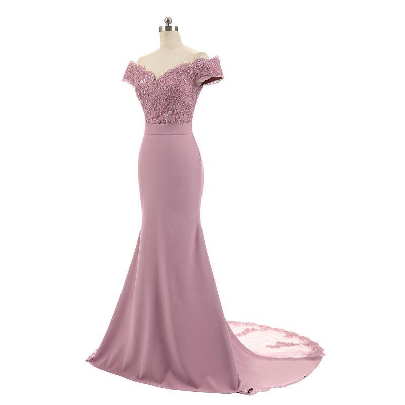 끄기 숄더 새틴 머메이드 댄스 파티 2021 블러쉬 - 핑크색 어두운 녹색 레드 로얄 블루 롱 파티 드레스