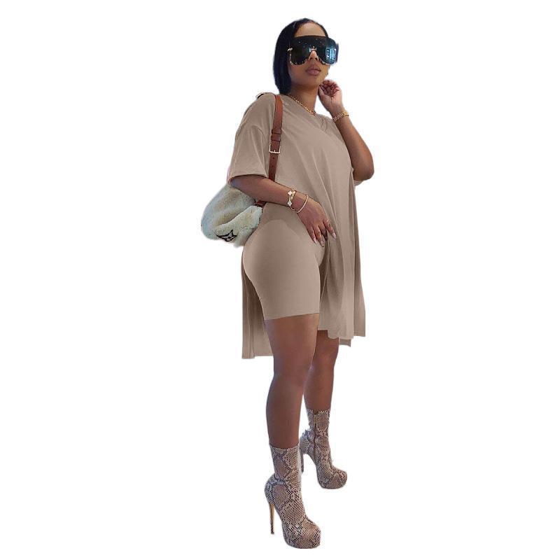 Женщины наборы трексуиты 2021 летняя спортивная одежда фитнес с коротким рукавом футболки шорты Sporty 2 шт. Outifits Два куска набор M0368