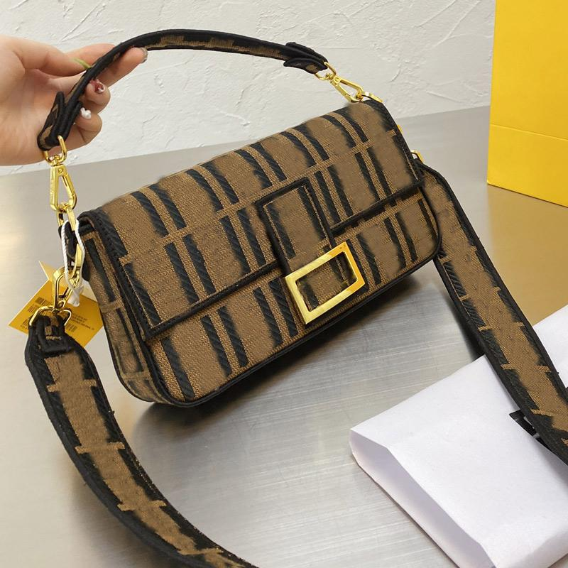 Vintage Baguette Bag Handbags Purse Crossbody Bags Fashion F letter Canvas Handbag Golden Hasp Detchable Shoulder Strap Lady Tote